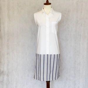 Madewell Sleeveless Cotton Split Back Shift Dress